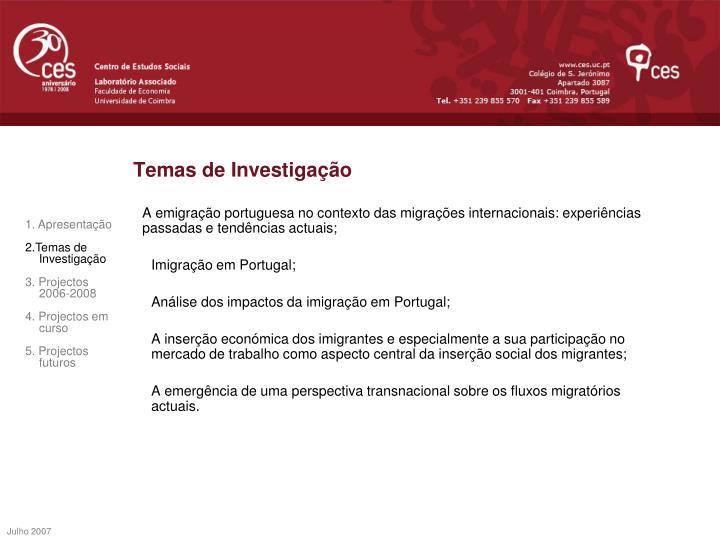 Temas de Investigação
