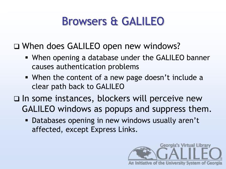 Browsers & GALILEO
