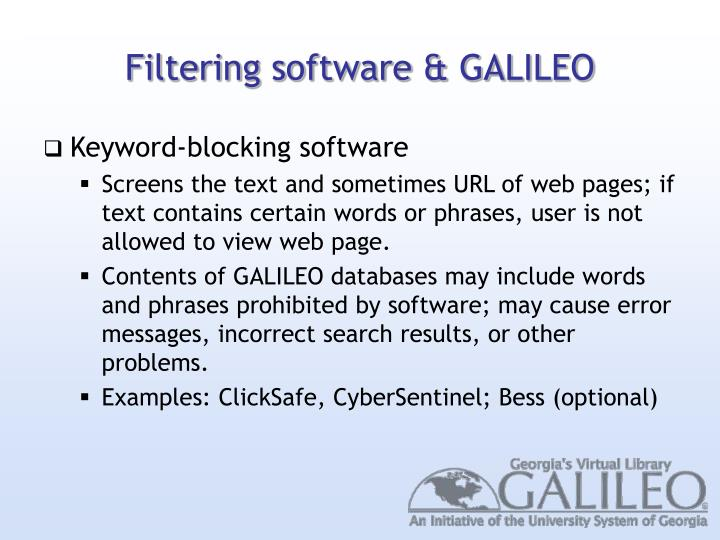 Filtering software & GALILEO