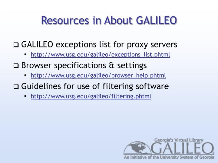 Resources in About GALILEO