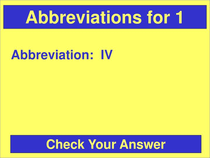 Abbreviations for 1