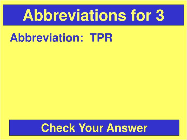 Abbreviations for 3