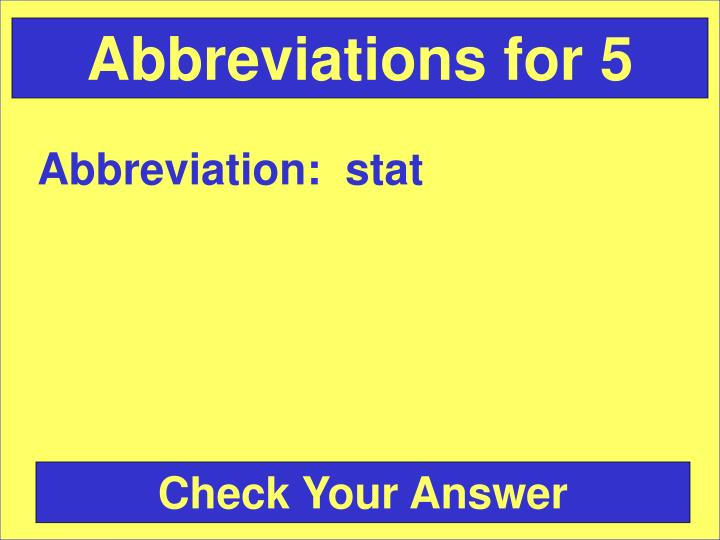 Abbreviations for 5