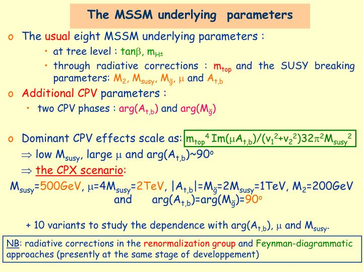 The MSSM underlying  parameters