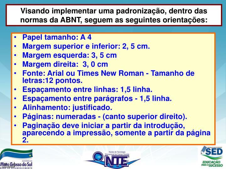 Visando implementar uma padronização, dentro das normas da ABNT, seguem as seguintes orientações: