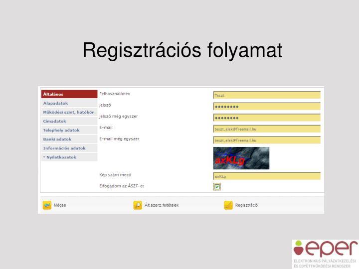 Regisztrációs folyamat