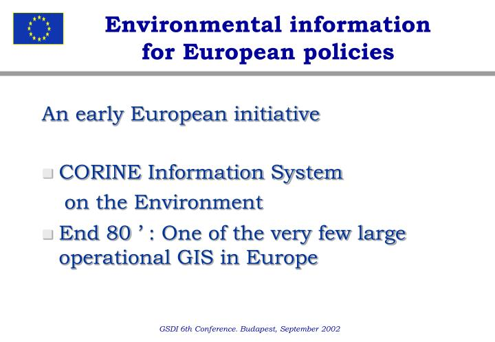 Environmental information for european policies