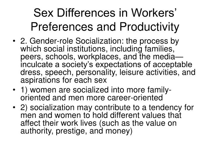 Sex Differences in Workers' Preferences and Productivity