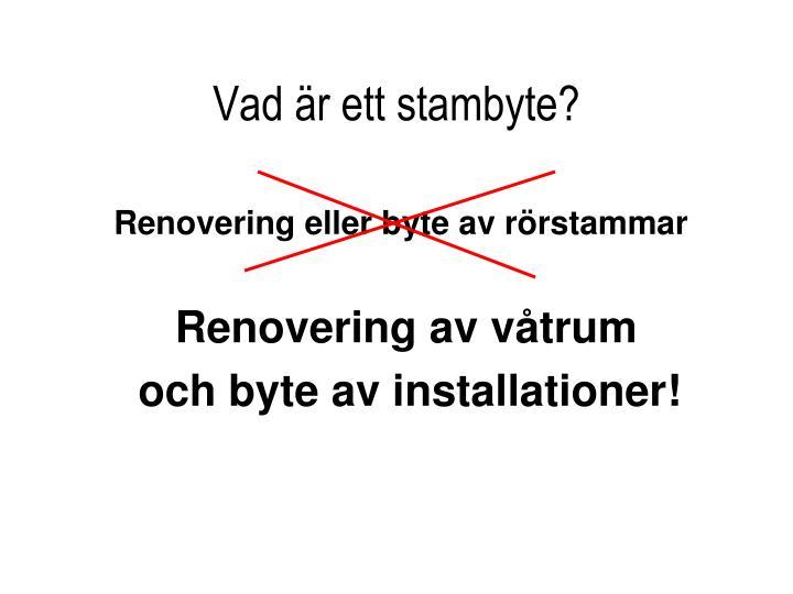 Renovering eller byte av rörstammar