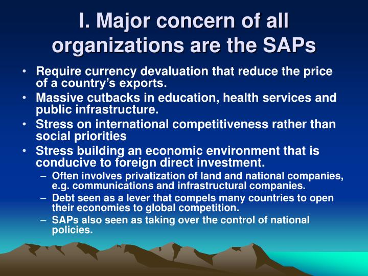 I major concern of all organizations are the saps