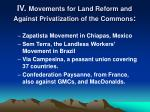 iv movements for land reform and against privatization of the commons