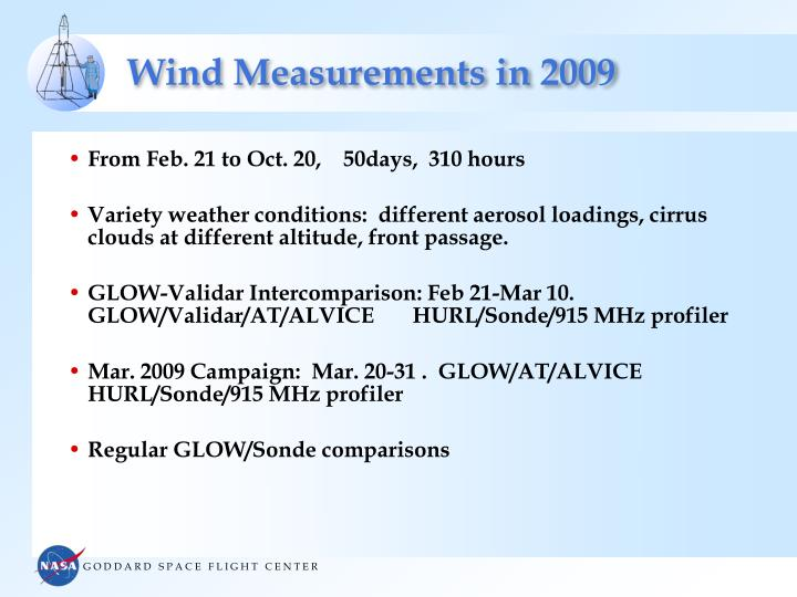 Wind Measurements in 2009