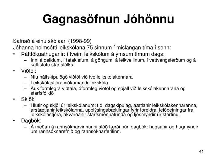 Gagnasöfnun Jóhönnu