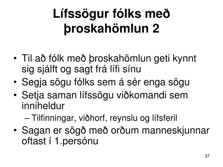 Lífssögur fólks með þroskahömlun 2