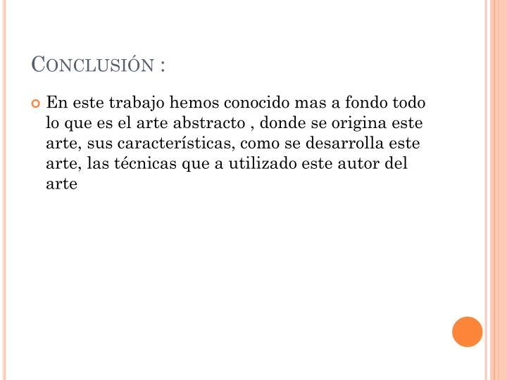 Conclusión :