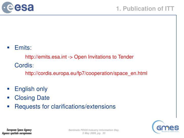 1. Publication of ITT