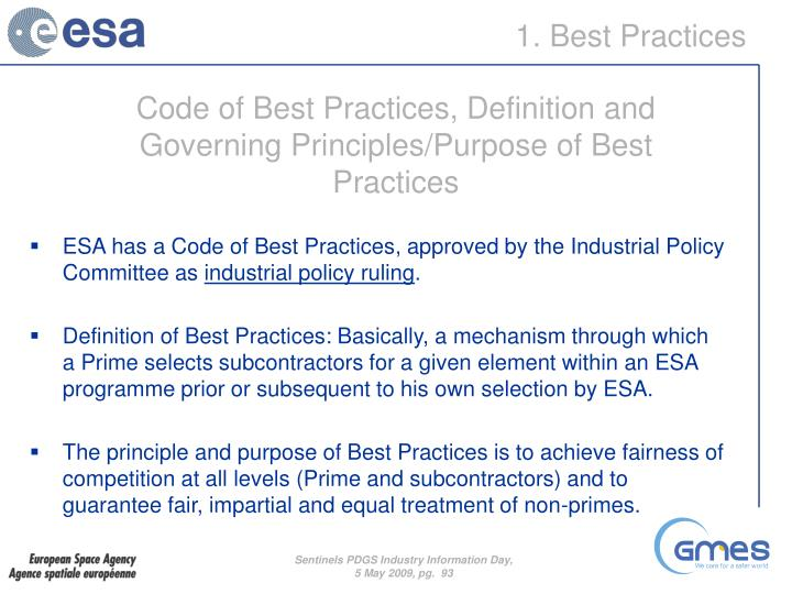 Code of Best Practices, Definition and Governing Principles/Purpose of Best Practices