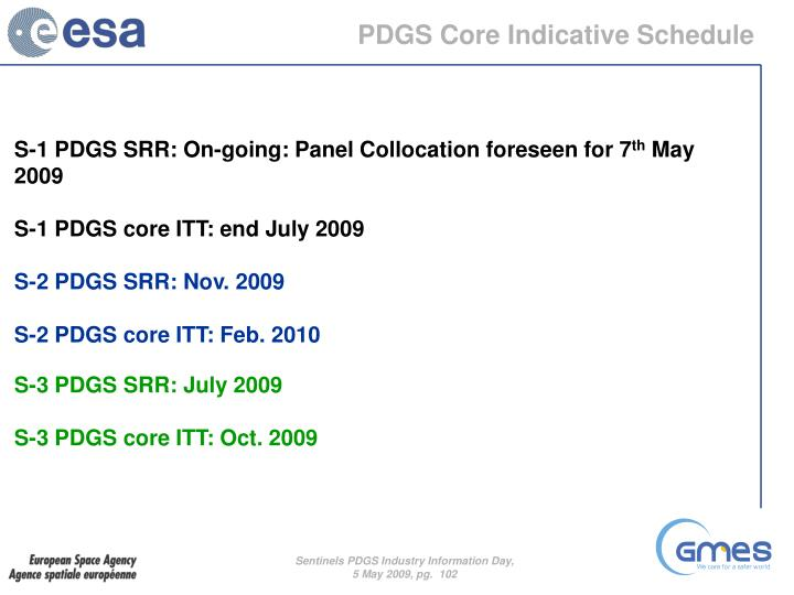 PDGS Core Indicative Schedule