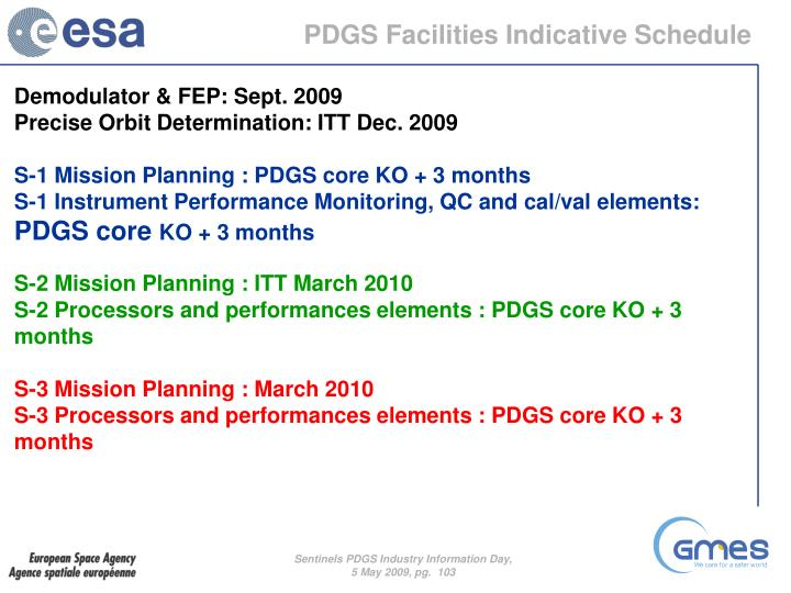 PDGS Facilities Indicative Schedule