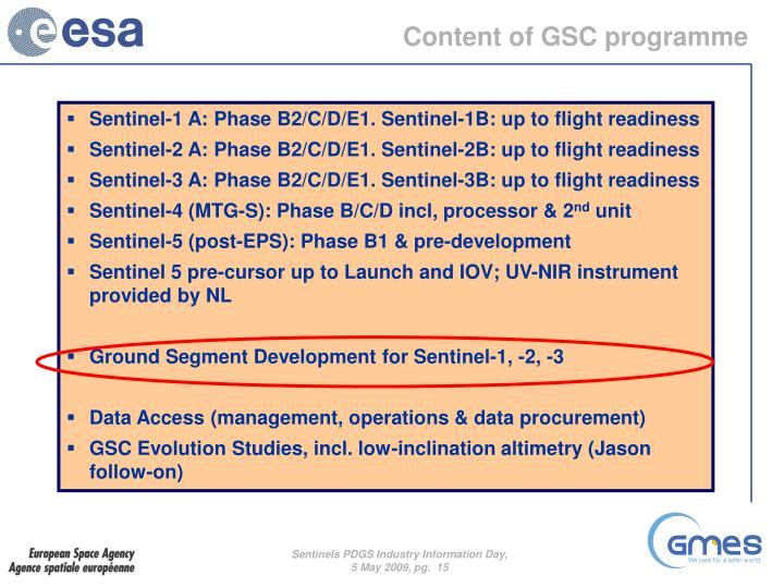 Content of GSC programme