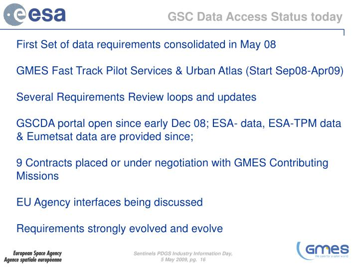 GSC Data Access Status today