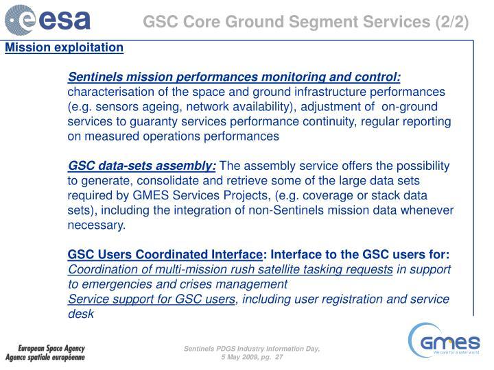 GSC Core Ground Segment Services (2/2)