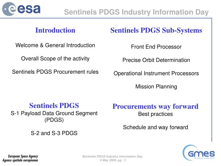 Sentinels PDGS Industry Information Day