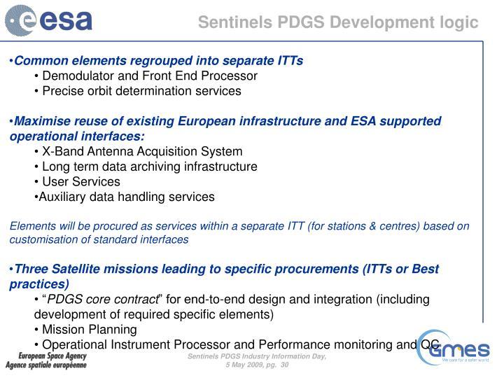 Sentinels PDGS Development logic
