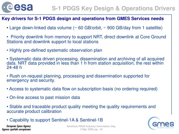 S-1 PDGS Key Design & Operations Drivers