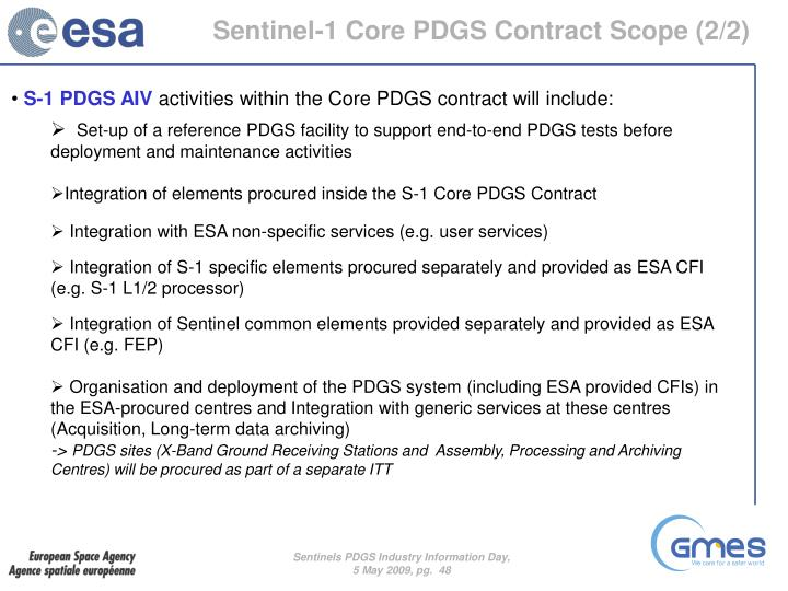 Sentinel-1 Core PDGS Contract Scope (2/2)