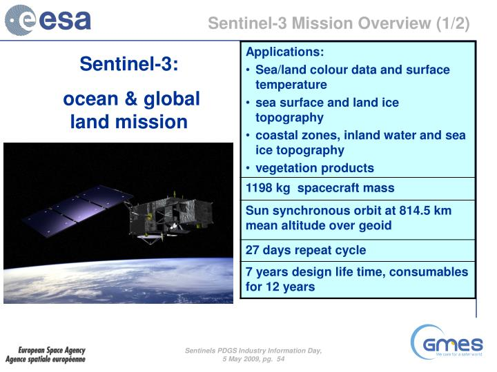 Sentinel-3 Mission Overview (1/2)