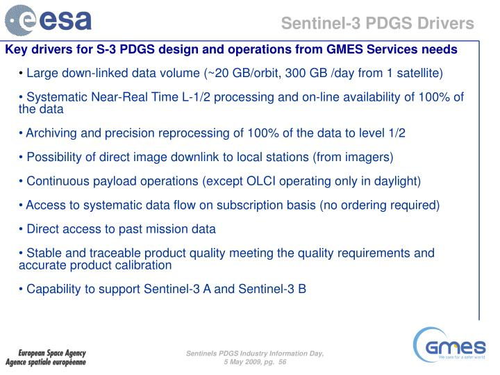 Sentinel-3 PDGS Drivers