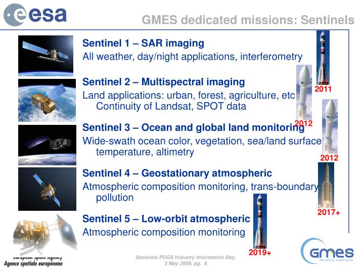 GMES dedicated missions: Sentinels