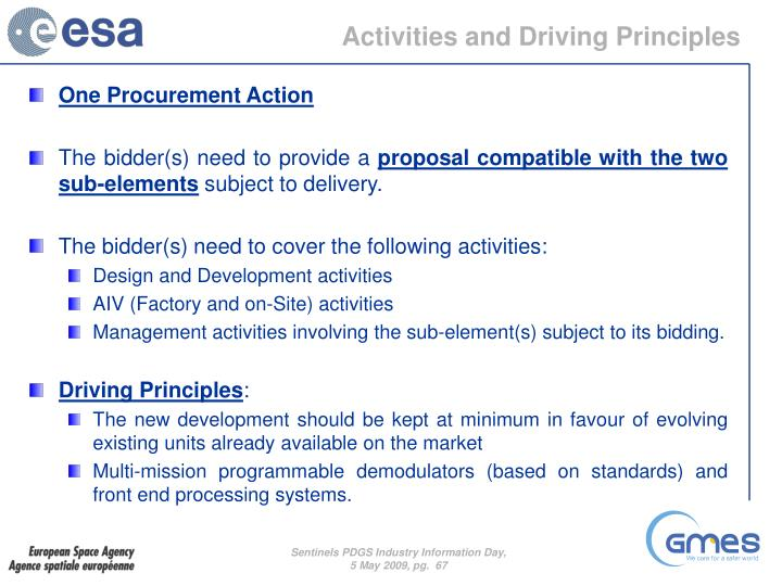 Activities and Driving Principles