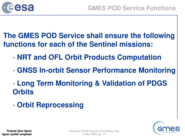 GMES POD Service Functions