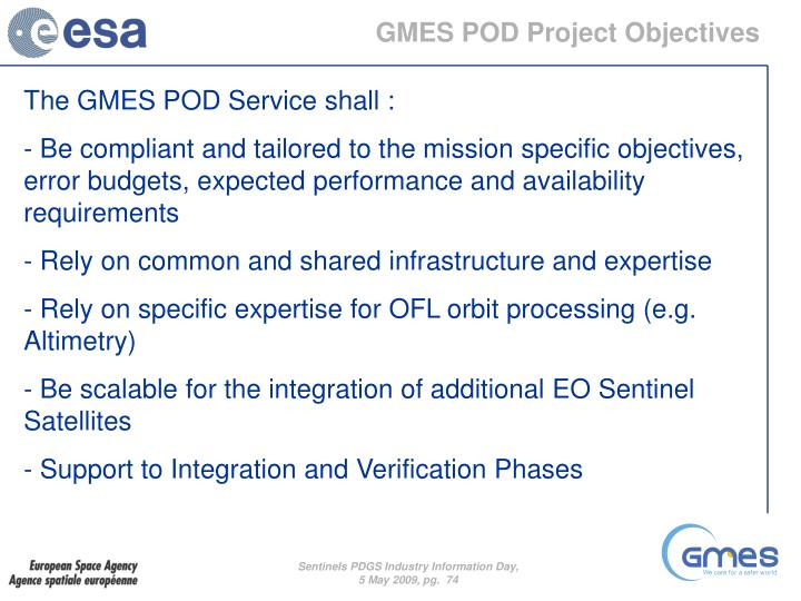 GMES POD Project Objectives
