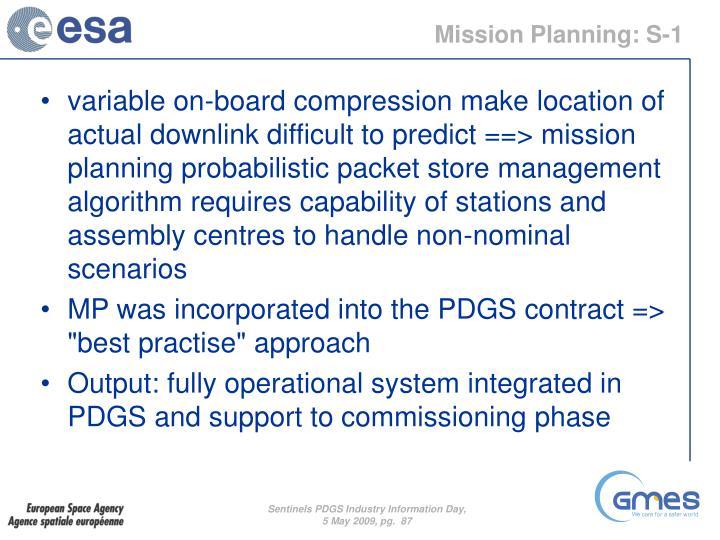 Mission Planning: S-1