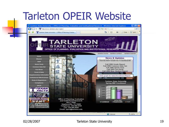 Tarleton OPEIR Website