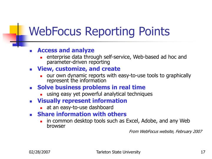 WebFocus Reporting Points