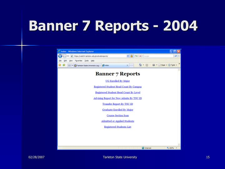 Banner 7 Reports - 2004