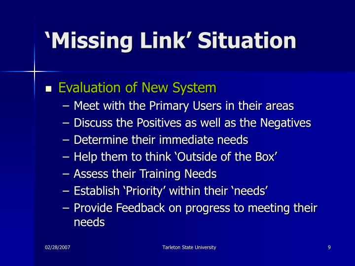 'Missing Link' Situation