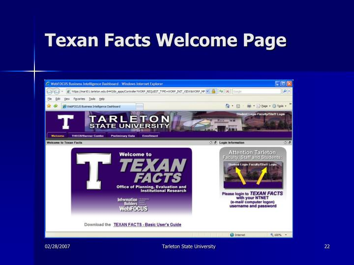 Texan Facts Welcome Page