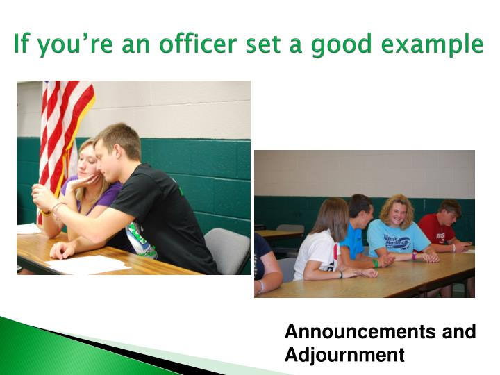 If you're an officer set a good example