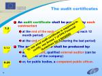 the audit certificates