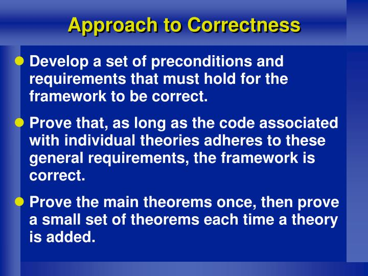 Approach to Correctness