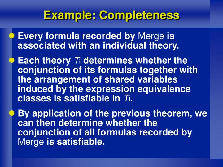 Example: Completeness