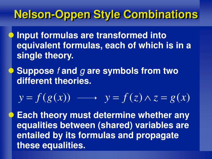 Nelson-Oppen Style Combinations