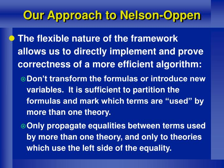 Our Approach to Nelson-Oppen