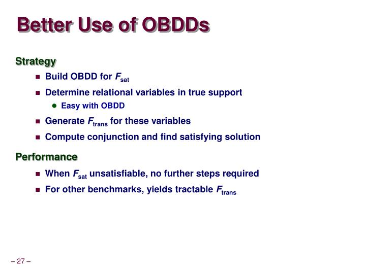 Better Use of OBDDs