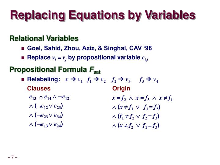 Replacing Equations by Variables